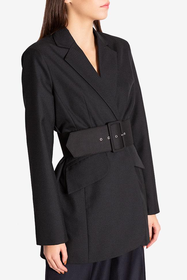 Veste tailleur en étoffe de laine avec ceinture Cloche image 0