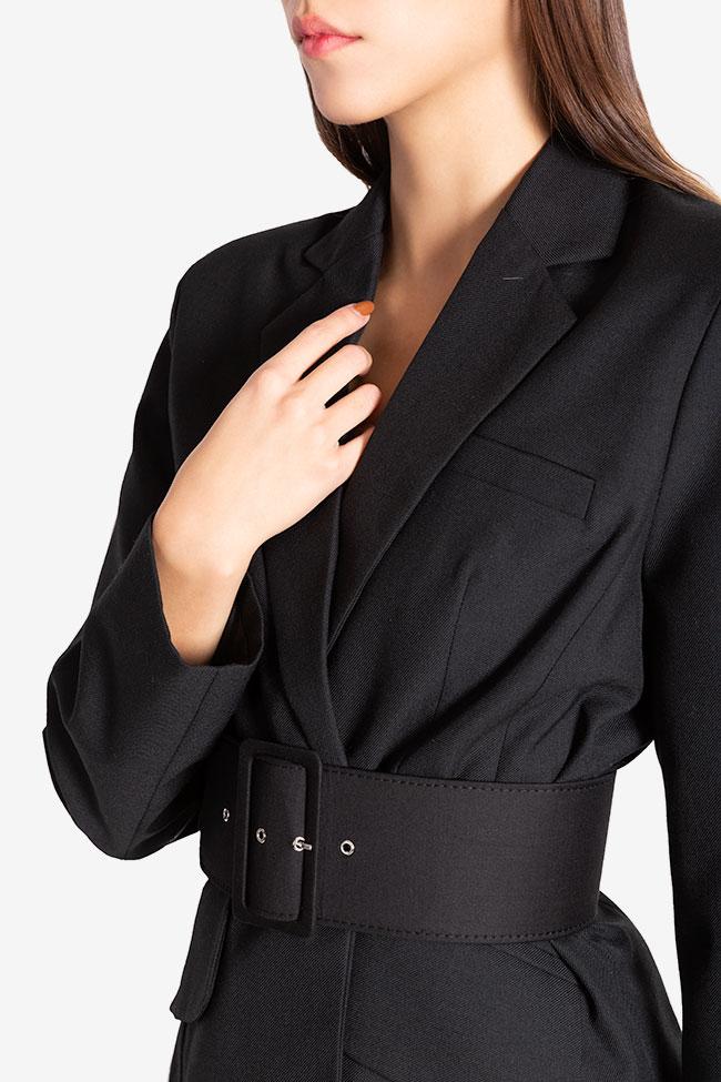 Veste tailleur en étoffe de laine avec ceinture Cloche image 3