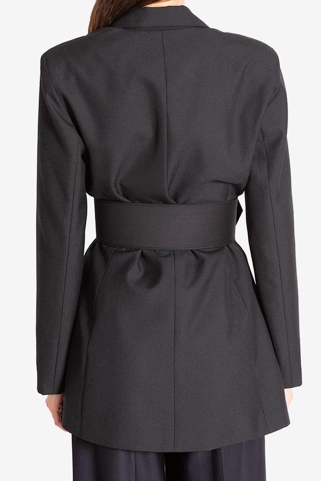 Veste tailleur en étoffe de laine avec ceinture Cloche image 2
