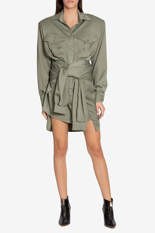 Belted asymmetric mini shirt dress NARRO image 1
