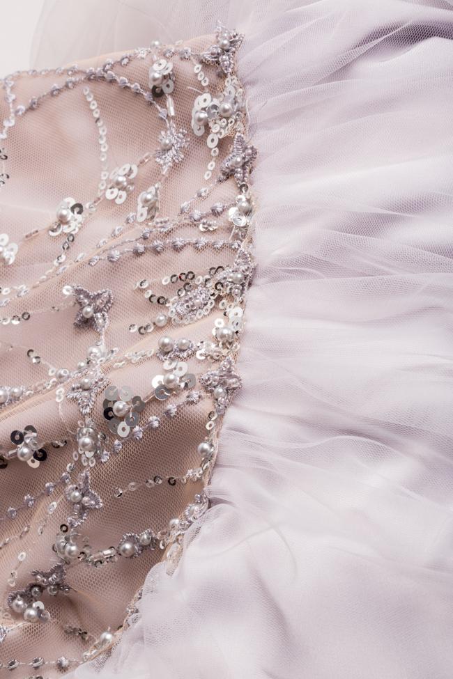 Rochie maxi din tul cu broderie manuala din paiete si margele Atelier Maria Iftimoaie imagine 4