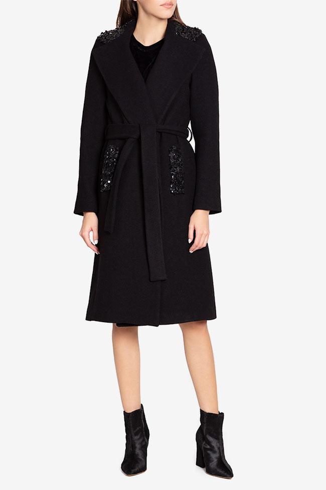 Palton din stofa de lana cu aplicatii din paiete Ramona Belciu imagine 1