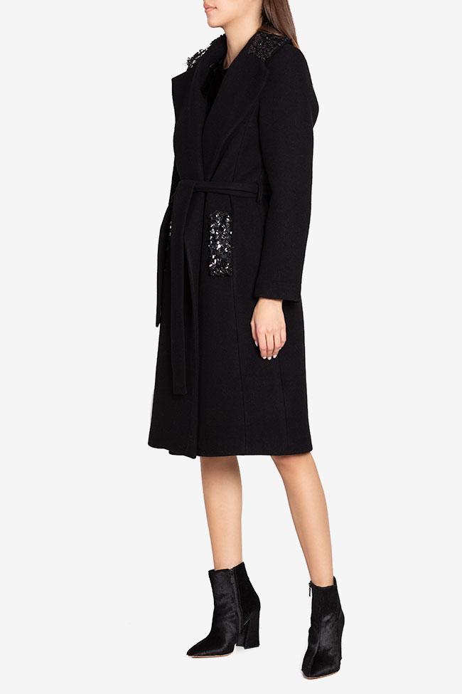 Palton din stofa de lana cu aplicatii din paiete Ramona Belciu imagine 0
