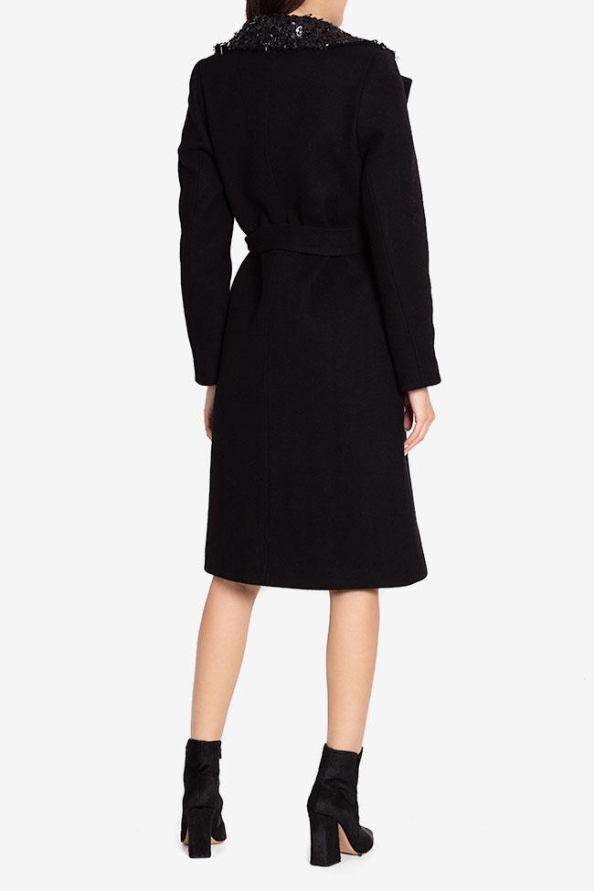 Palton din stofa de lana cu aplicatii din paiete Ramona Belciu imagine 2