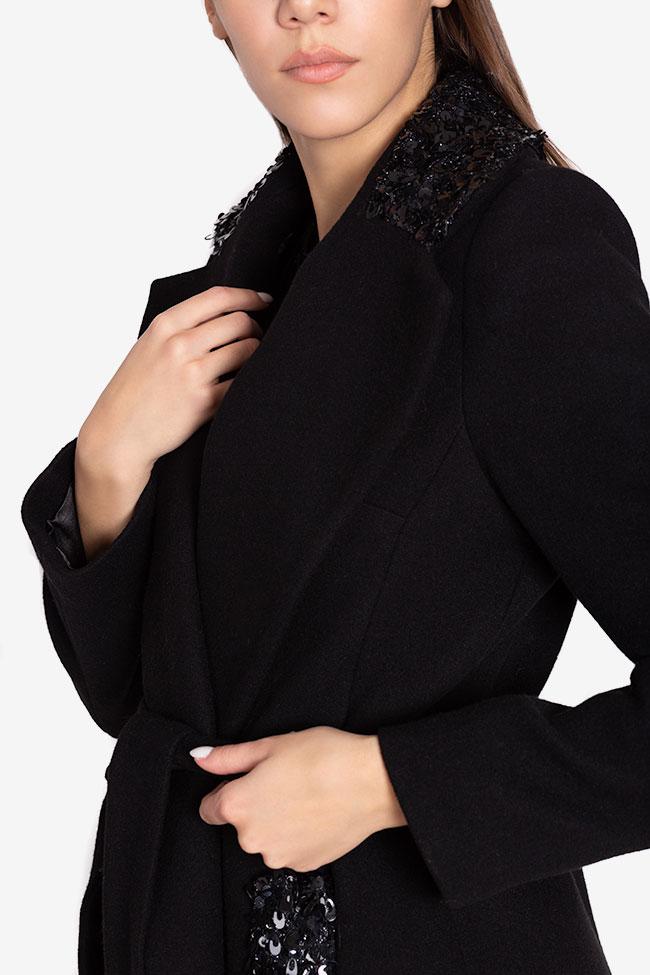 Palton din stofa de lana cu aplicatii din paiete Ramona Belciu imagine 3