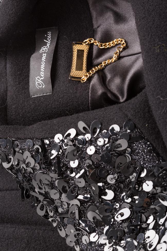Palton din stofa de lana cu aplicatii din paiete Ramona Belciu imagine 4