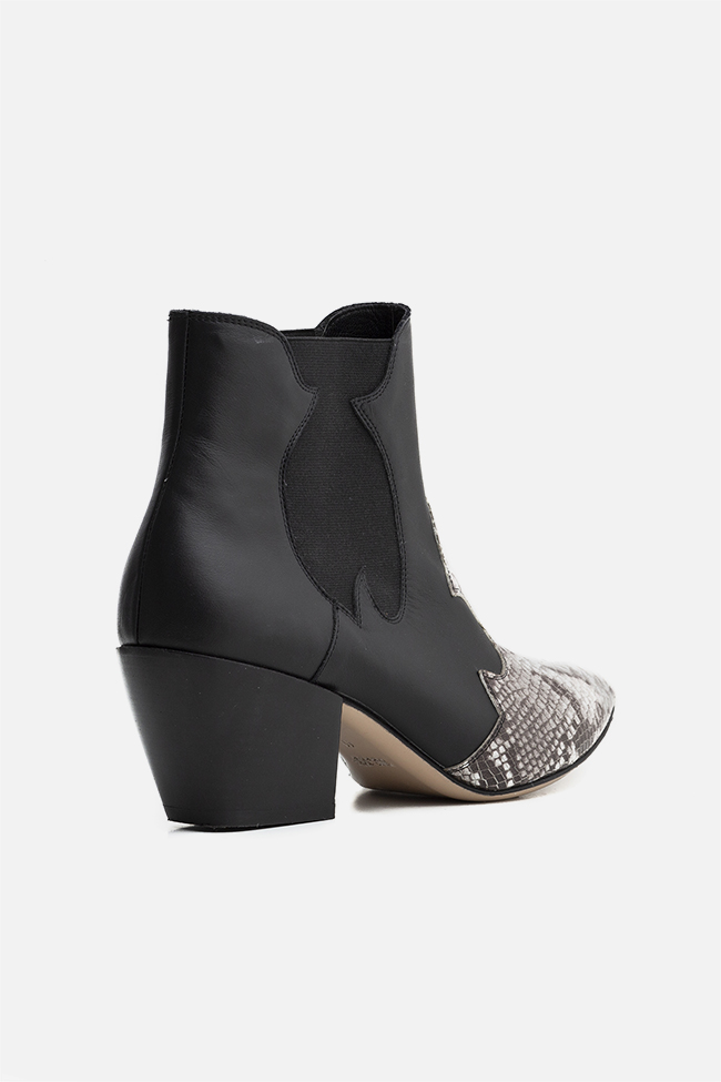 Texas55 snake-effect leather ankle boots Ginissima image 1