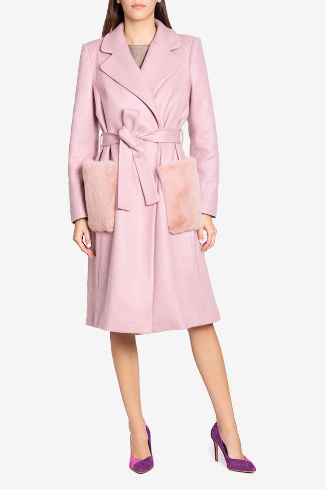 Manteau en étoffe de mélange de laine avec appliquées de fourrure Ramona Belciu image 1