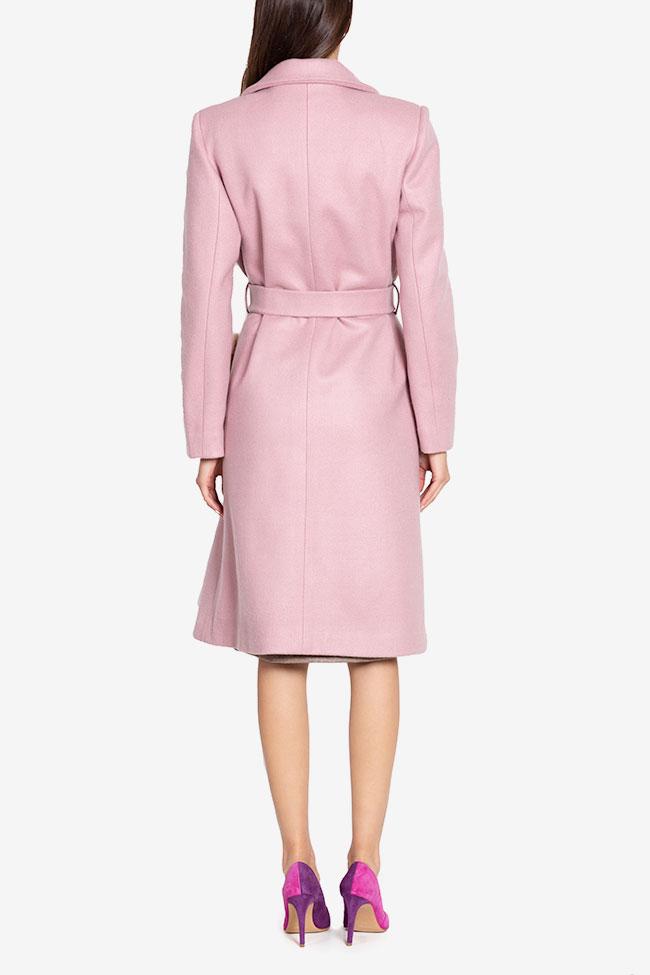 Manteau en étoffe de mélange de laine avec appliquées de fourrure Ramona Belciu image 2