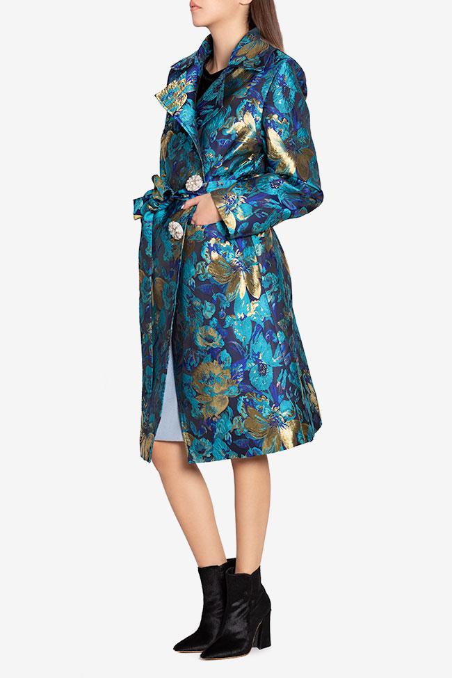 Palton din brocard din amestec de bumbac cu nasture fantezie  Ramona Belciu imagine 0
