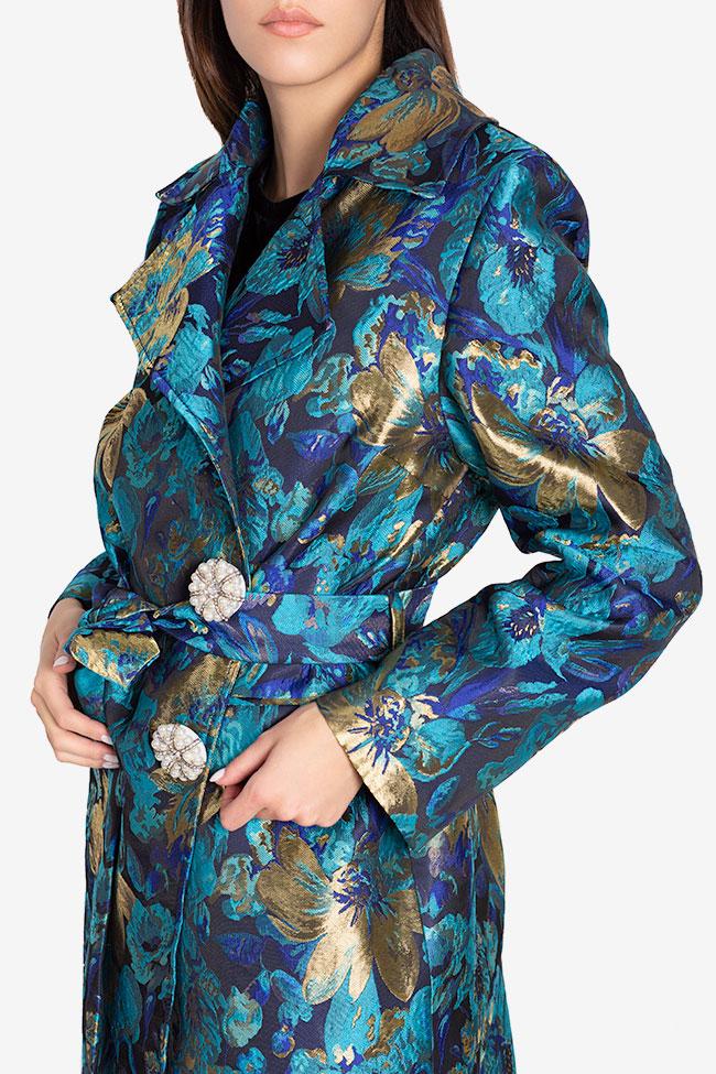 Palton din brocard din amestec de bumbac cu nasture fantezie  Ramona Belciu imagine 3