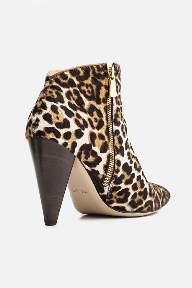 Botine din piele si blana naturala tip leopard Sara90 Ginissima imagine 1