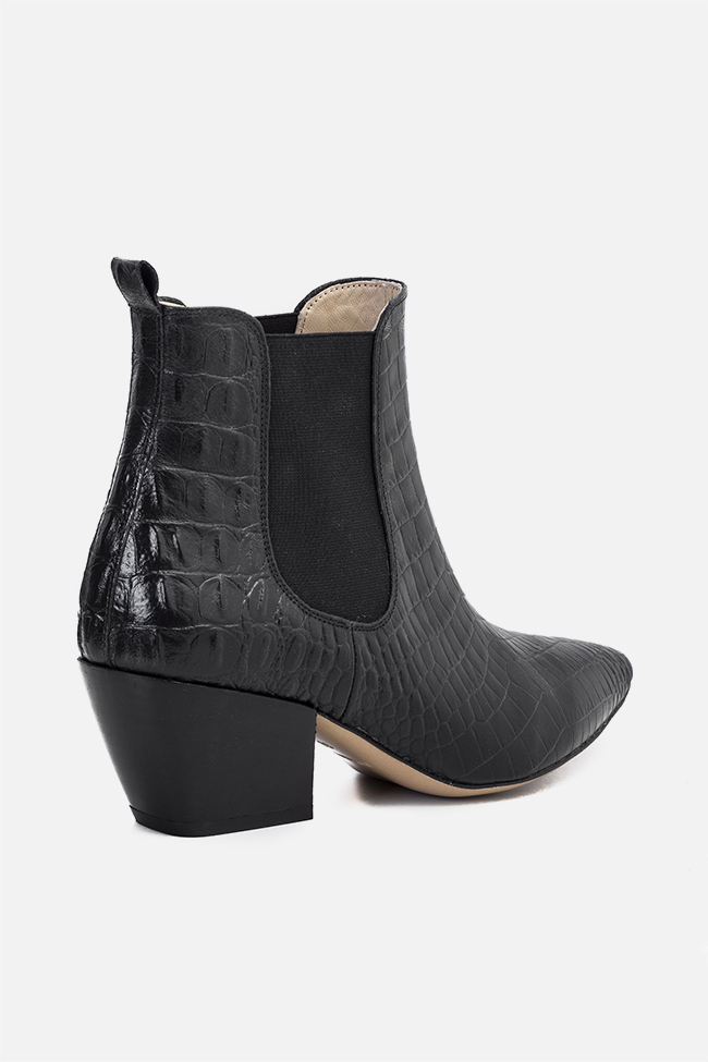 Virginia55 croc-effect leather ankle boots Ginissima image 1