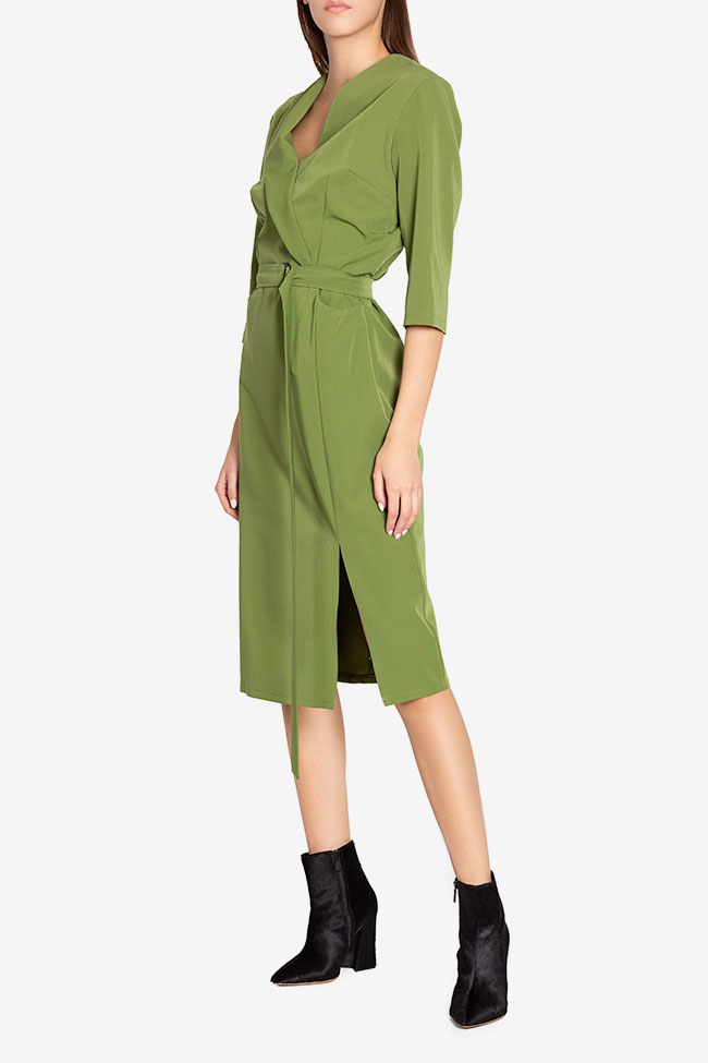 Julie wrap-effect belted crepe midi dress Couture de Marie image 0