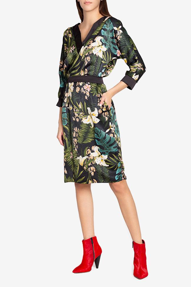 Amelia wrap-effect belted satin midi dress Couture de Marie image 0