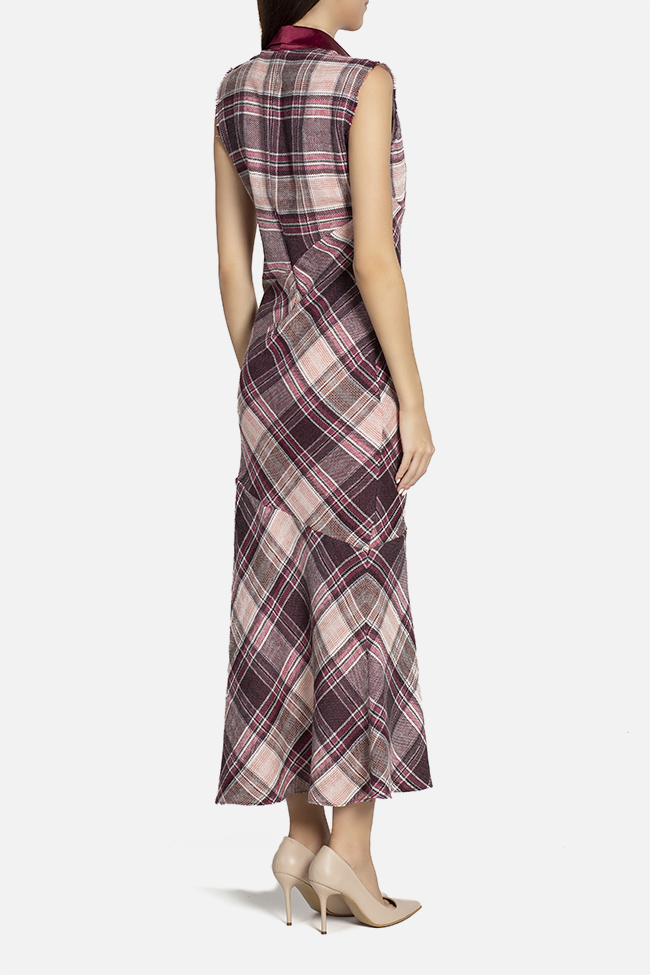 Checked wool and silk maxi dress Elena Perseil image 2
