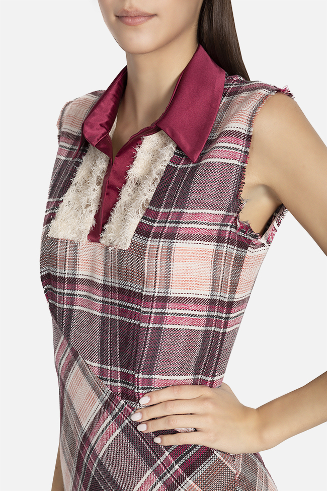 Checked wool and silk maxi dress Elena Perseil image 3