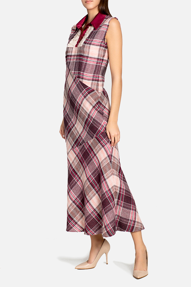 Checked wool and silk maxi dress Elena Perseil image 0