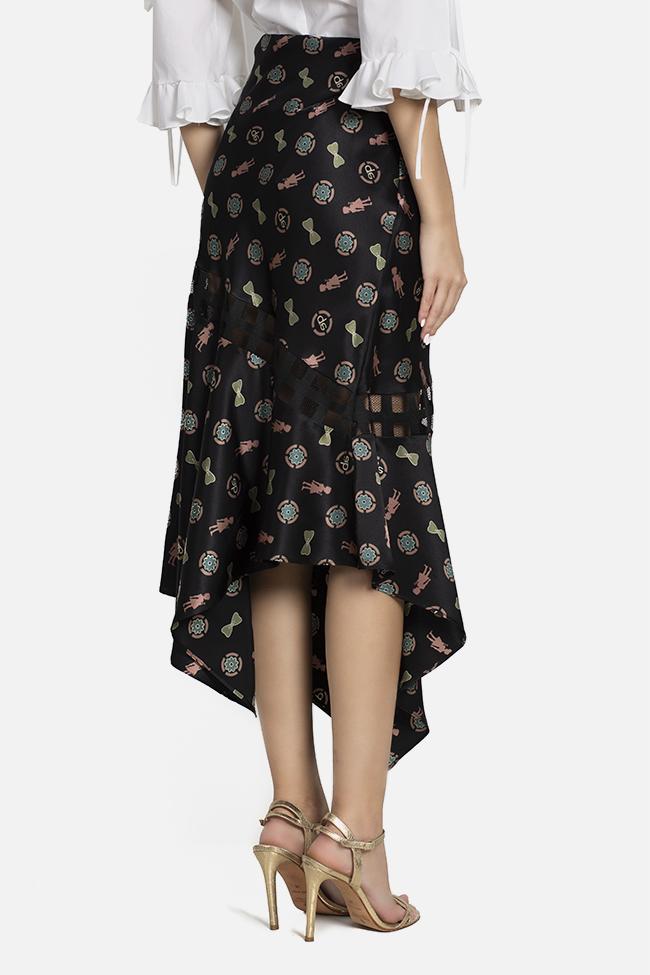 Jupe asymétrique en soie satinée à imprimé Elena Perseil image 2