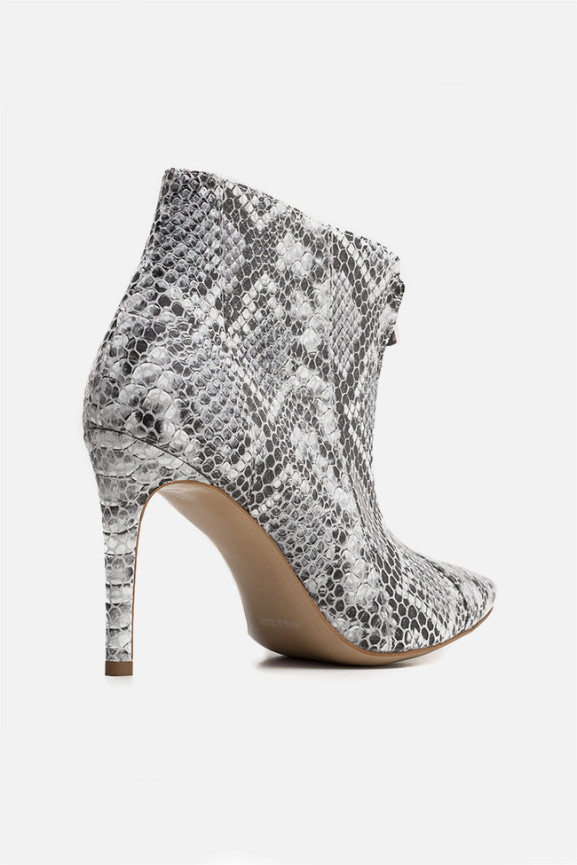 Snake-effect leather ankle boots Ginissima image 1