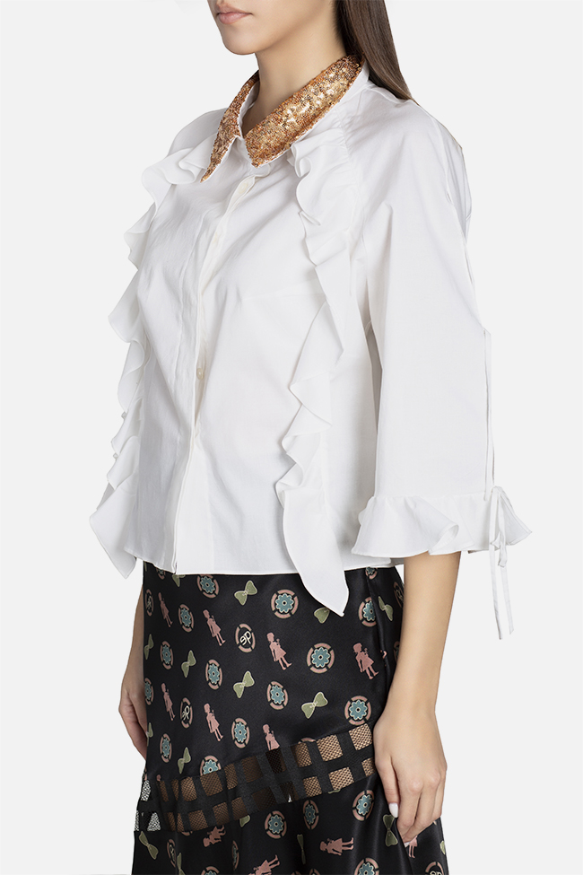 Sequined ruffled cotton shirt Elena Perseil image 0