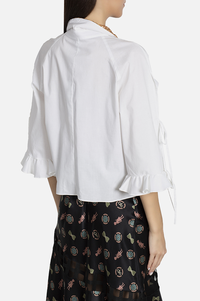 Sequined ruffled cotton shirt Elena Perseil image 2