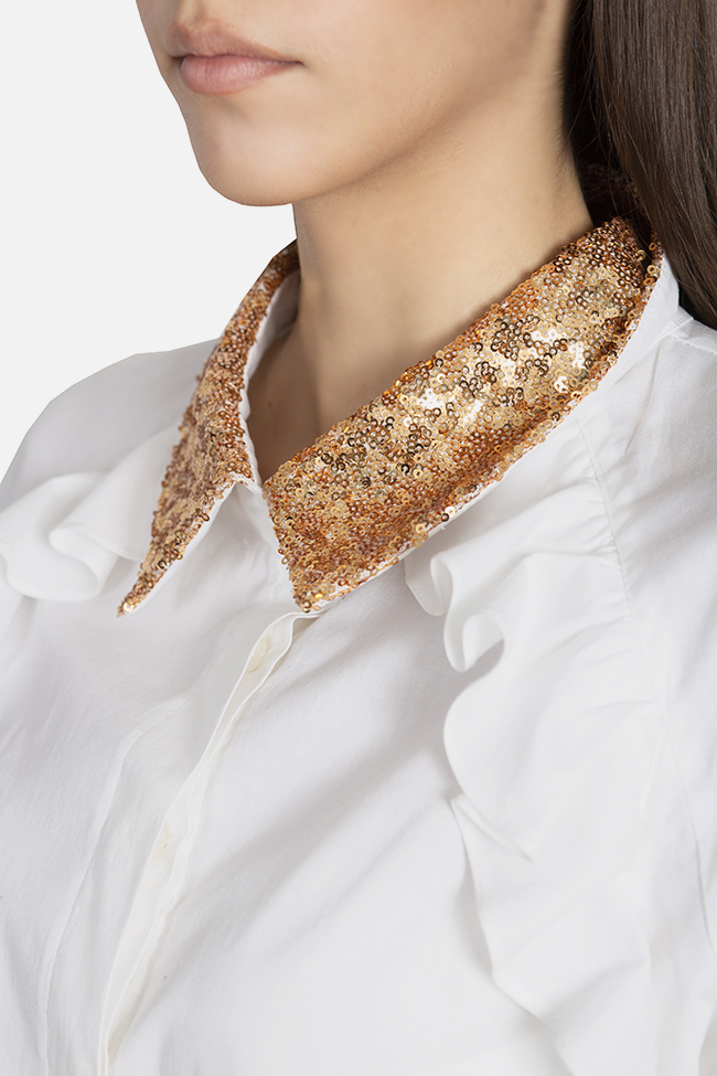 Sequined ruffled cotton shirt Elena Perseil image 3