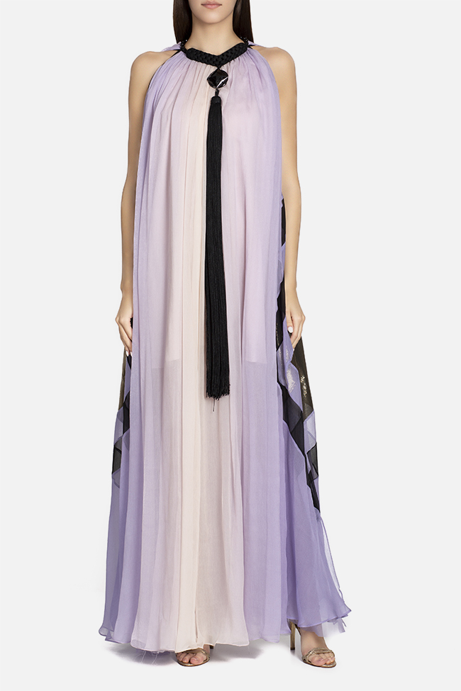 Lina tasseled silk maxi dress Elena Perseil image 1
