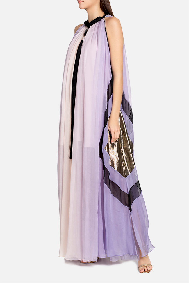 Lina tasseled silk maxi dress Elena Perseil image 0