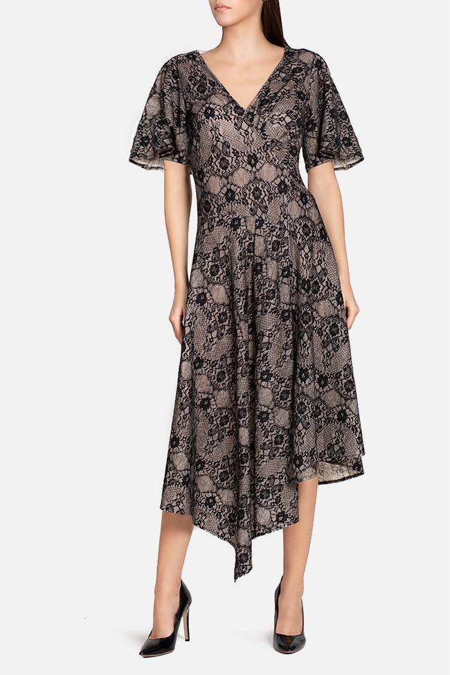 Robe asymétrique en laine et dentelle Tina Elena Perseil image 1