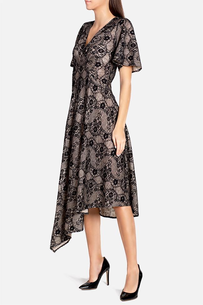 Robe asymétrique en laine et dentelle Tina Elena Perseil image 0