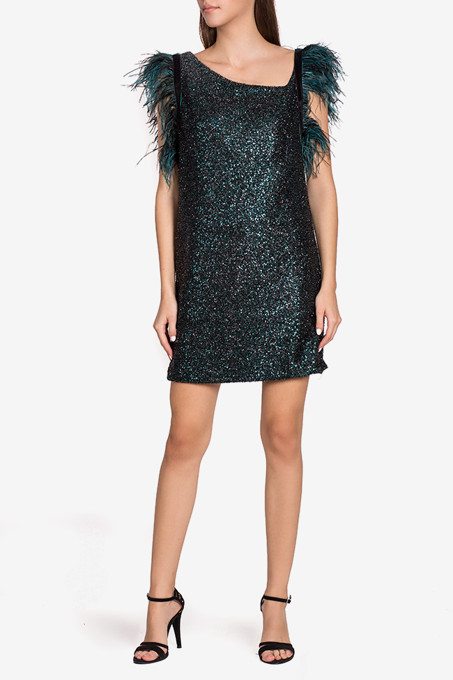Scarlett embellished feather-trimmed mini dress Mirela Pellegrini image 1