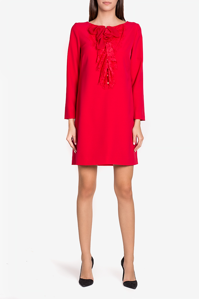Carolina lace bow-embellished crepe mini dress Mirela Pellegrini image 1