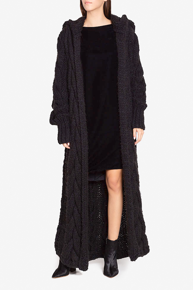 Hooded oversized wool cardigan NARRO image 1