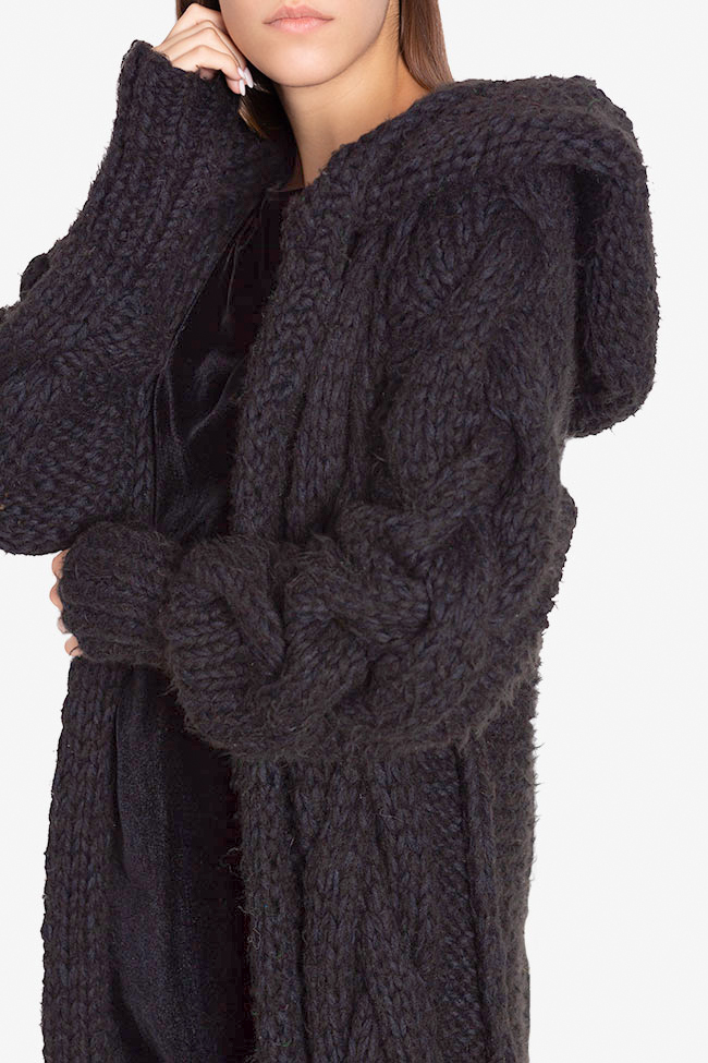 Hooded oversized wool cardigan NARRO image 3