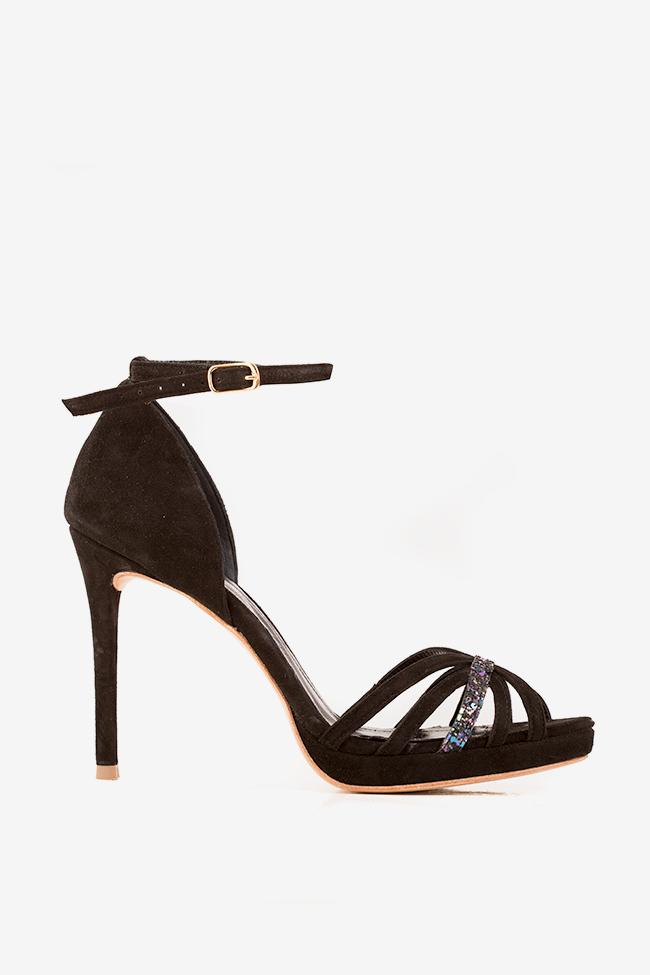 Sandale piele intoarsa cu insertii din sclipici Black Nicole Hannami imagine 0
