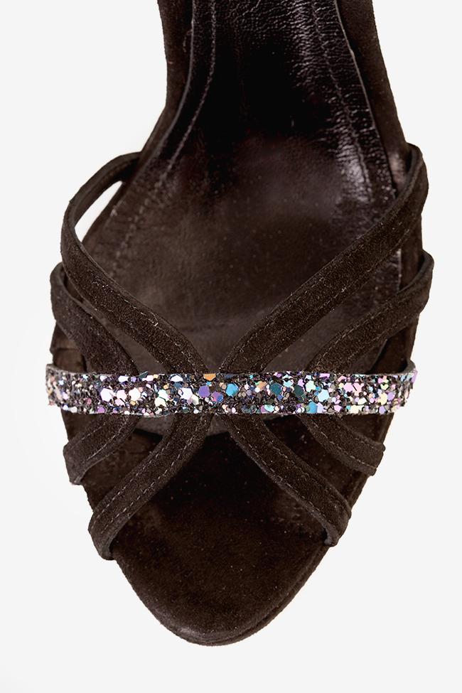 Sandale piele intoarsa cu insertii din sclipici Black Nicole Hannami imagine 3