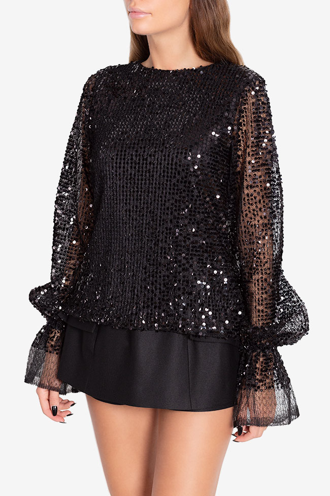 Shiny F sequinned tulle top Arllabel Golden Brand image 0