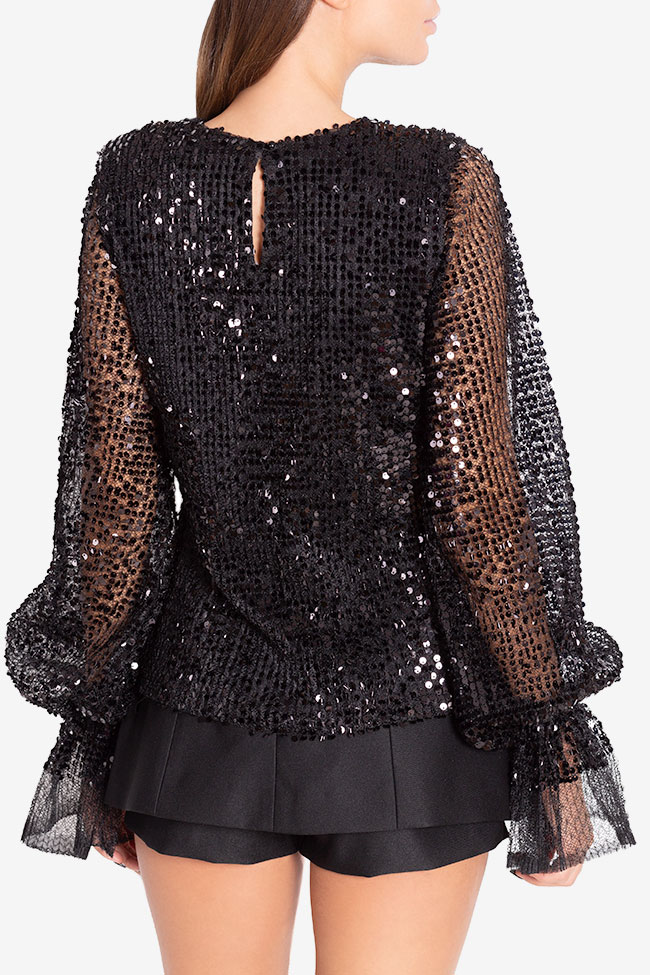 Shiny F sequinned tulle top Arllabel Golden Brand image 2