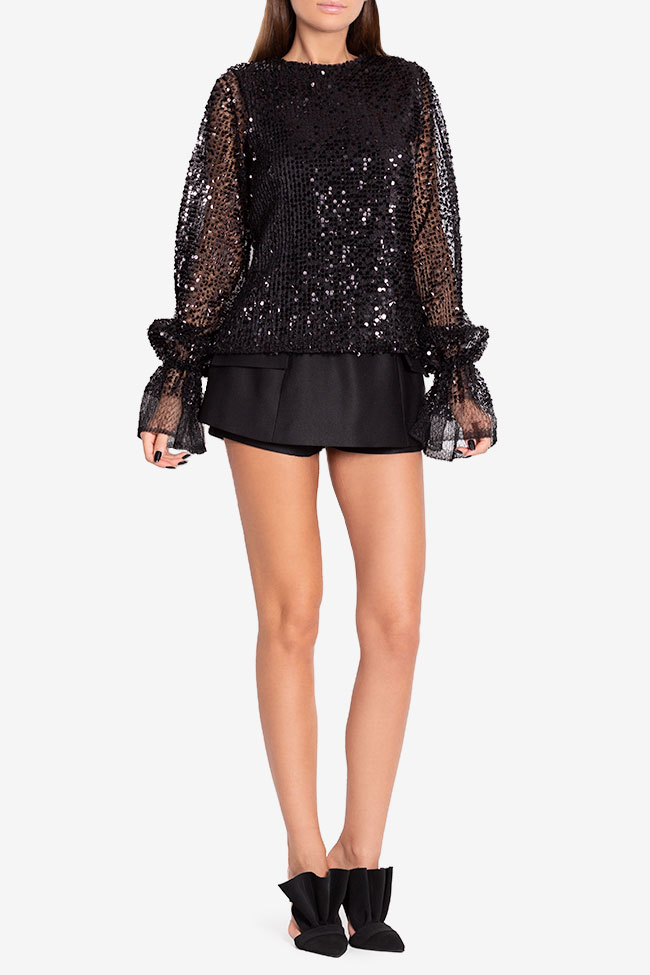 Shiny F sequinned tulle top Arllabel Golden Brand image 1