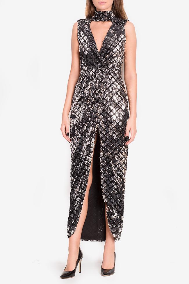 Silver wrap-effect velvet embellished gown Arllabel Golden Brand image 1