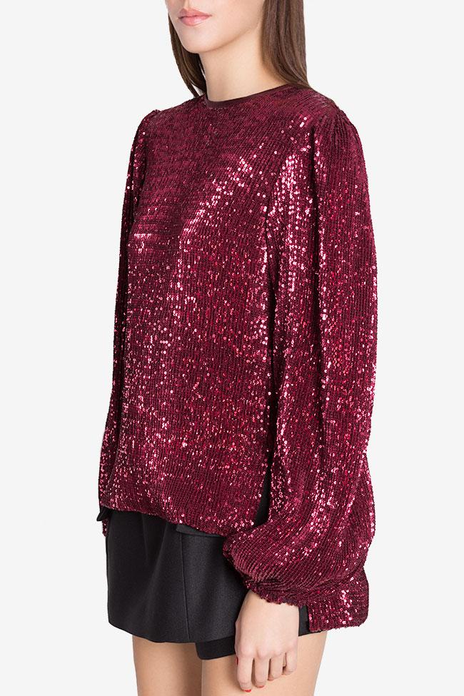 Bluza din tul ornat cu paiete Shiny Arllabel Golden Brand imagine 0