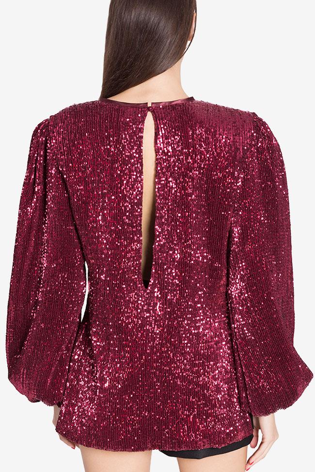 Shiny embellished tulle top Arllabel Golden Brand image 2