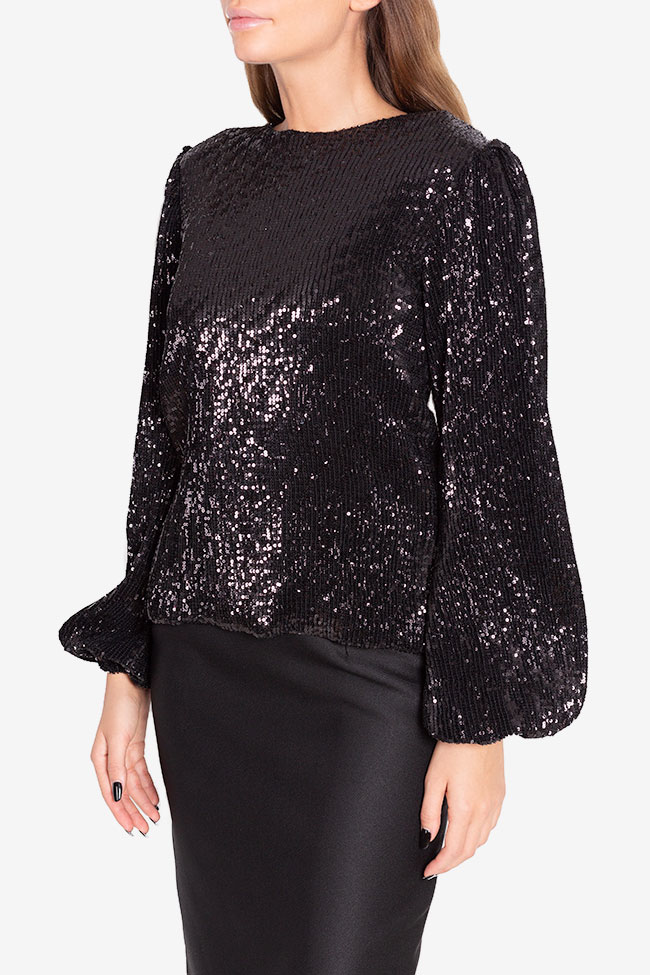 Shiny embellished tulle top Arllabel Golden Brand image 0