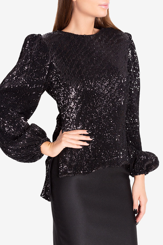 Shiny embellished tulle top Arllabel Golden Brand image 3
