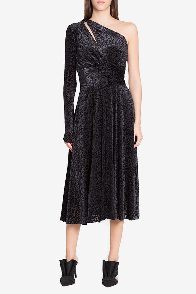 Robe asymétrique en velours de soie mélangée Irma Arllabel Golden Brand image 0