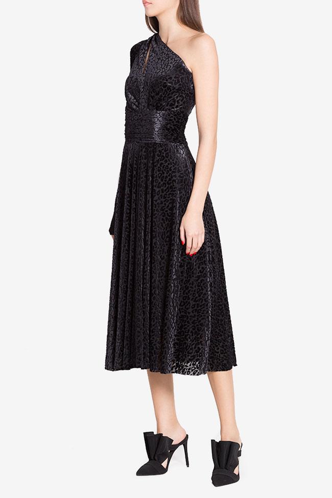 Robe asymétrique en velours de soie mélangée Irma Arllabel Golden Brand image 1