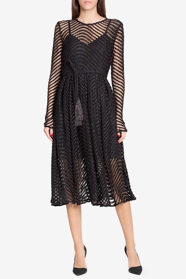 Grace belted metallic lace midi dress Arllabel Golden Brand image 1