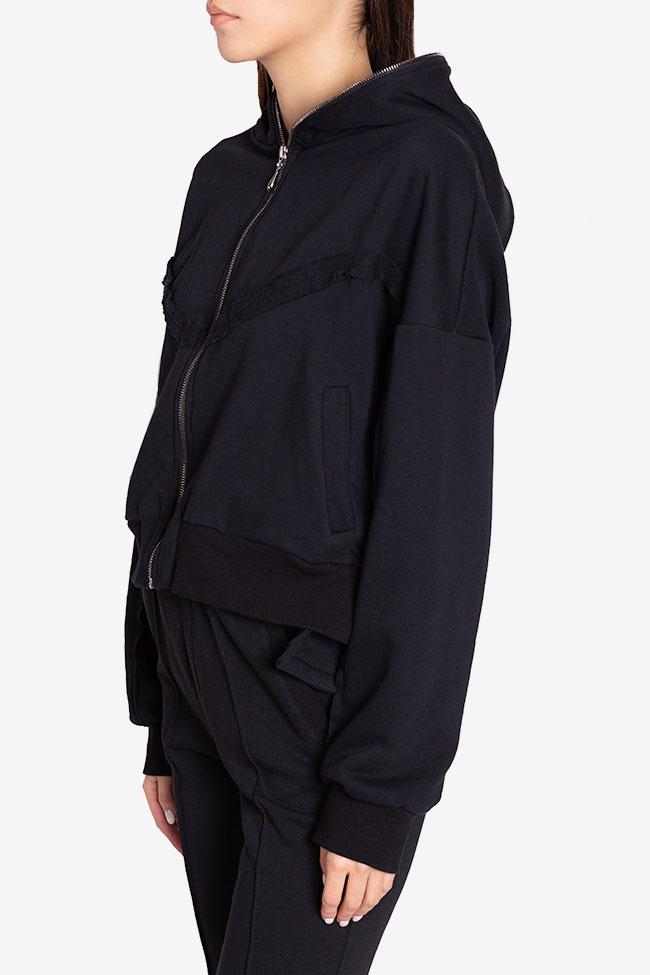 Zip-detailed coton-blend hoodie NARRO image 0