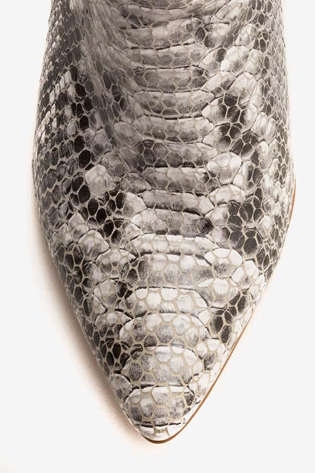 Botine din piele tip sarpe Sara90 Ginissima imagine 3